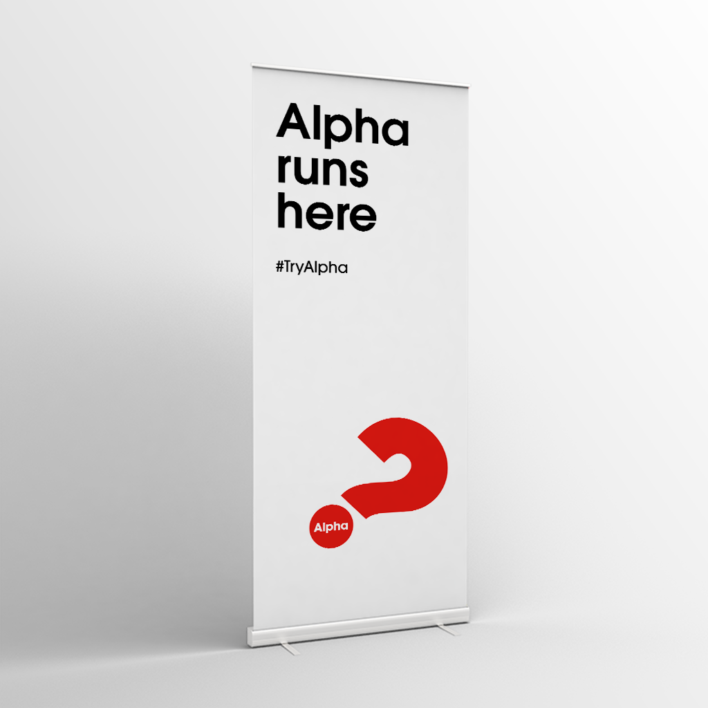 Alpha Invite Banner (2019) White - Standard Pull-up Banner