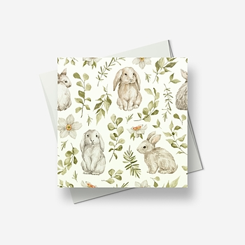 Baby bunny rabbits welcome Spring - Greetings card