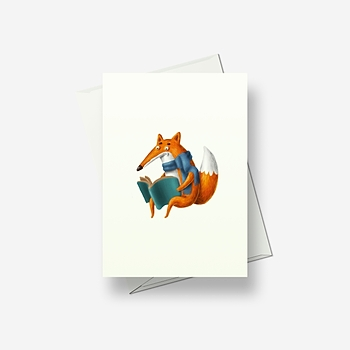 Crazy reading fox - Greetings card