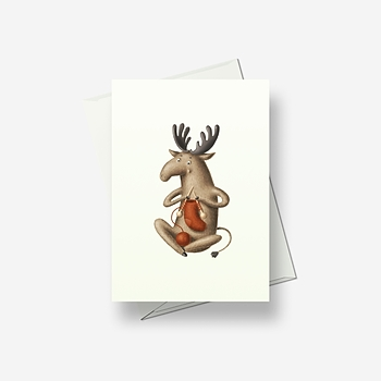 Crazy knitting deer - Greetings card