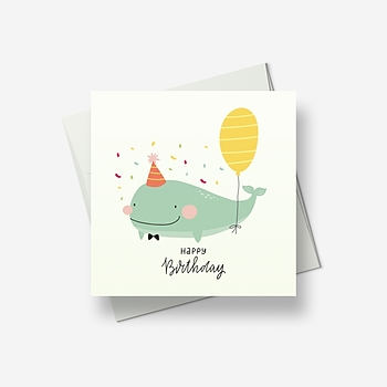 Wally Whale brings a birthday balloon - Greetings card