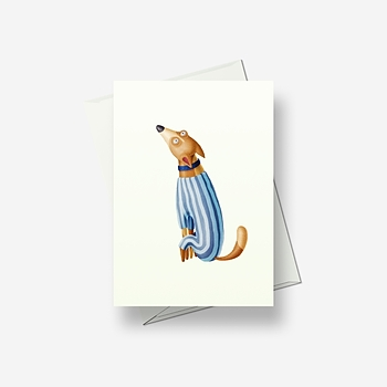 Crazy dog in pyjamas - Greetings card