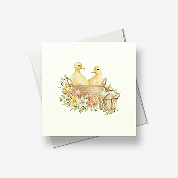 Ducklings in an Easter basket - Greetings card