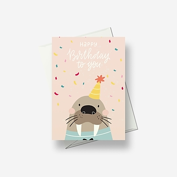 A walrus sends you birthday wishes - Greetings card
