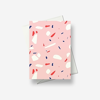 Pink with spatters - full page - Greetings card