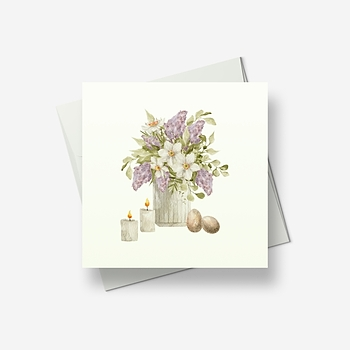 A vase of lilacs for Easter - Greetings card