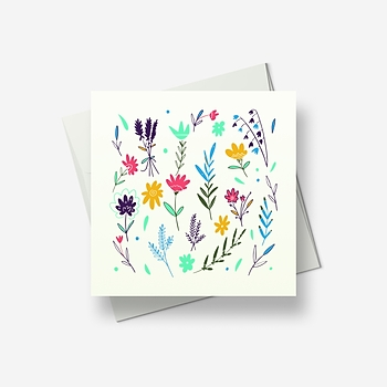 Spring flowers waving in the breeze - Greetings card