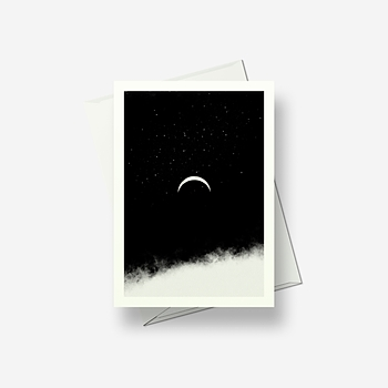 Crescent moon and stars - Greetings card