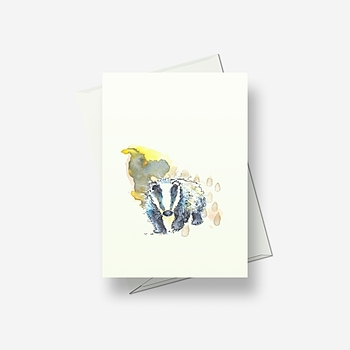 Badger in the wild - Greetings card