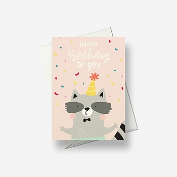 I'll give you a birthday hug, says racoon - Greetings card