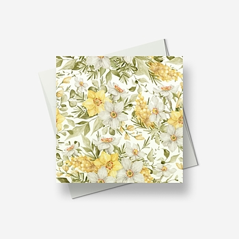Fresh yellow and white flowers for the Spring - Greetings card