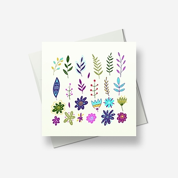 Flowers and leaves make a pretty pricture - Greetings card