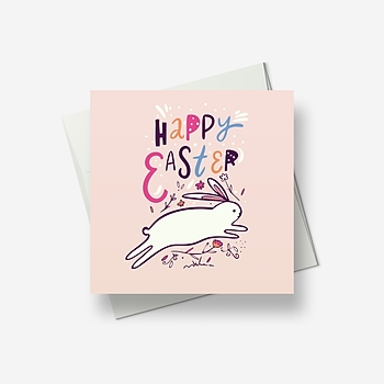 This leaping Easter bunny sends greetings - Greetings card