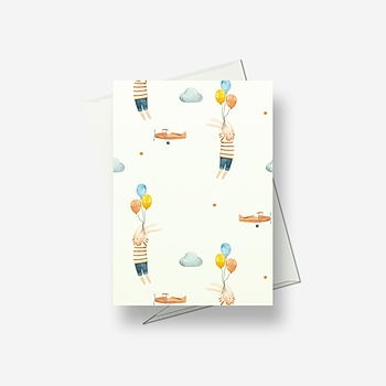 Rabbits and balloons - Greetings card