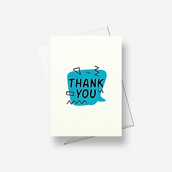 A blue message: thank you - Greetings card