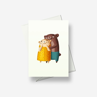 Brown bear and white bear - Greetings card