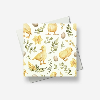 Baby ducks and chicks welcome Spring - Greetings card