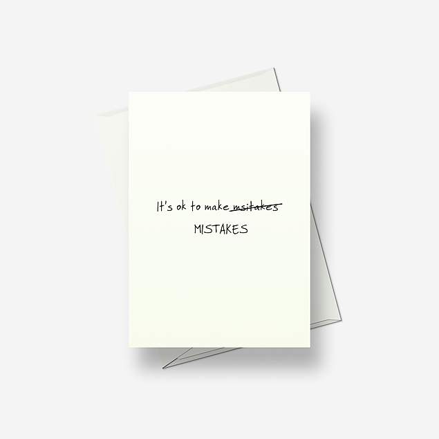 It's OK to make mistakes - Greetings card