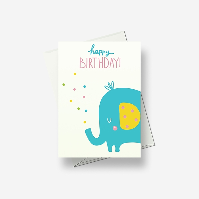 Nelly the elephant says 'hello' - Greetings card