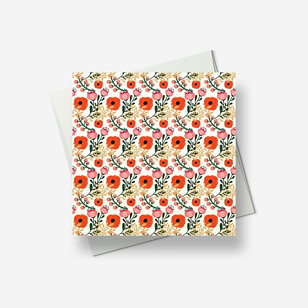 Some bright poppies and berries for you - Greetings card