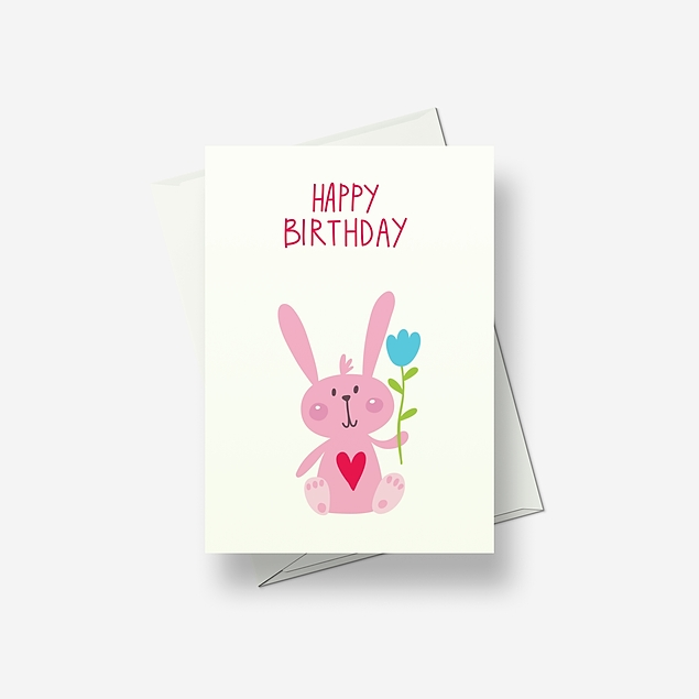 I'm a pretty pink rabbit with big ears - Greetings card